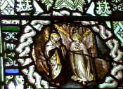 Part of St Thomas window depicting a cameo of St Peter with an angel