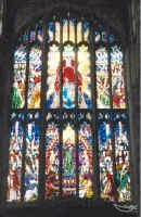"Left click to find out more about this wonderful stained glass window ""The West Window"""